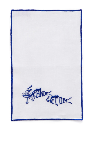 Medium julia b couture linens navy drink like fish cocktail napkins