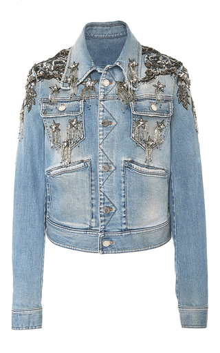Star Embellished Denim Jacket By Roberto Cavalli Moda