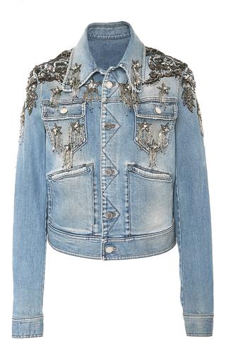 Medium roberto cavalli blue star embellished denim jacket