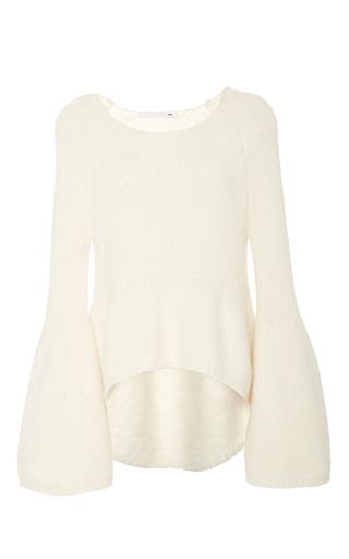 Medium rosetta getty ivory chunky alpaca bell sleeve pullover
