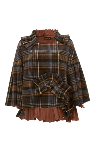Medium kika vargas plaid ruffle applique bell sleeve top