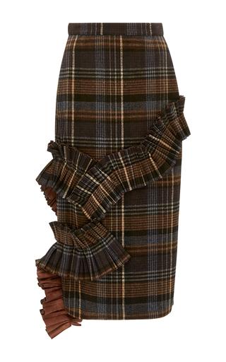 Medium kika vargas plaid ruffle applique pencil skirt