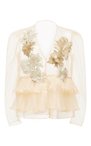 Medium kika vargas tan flower applique ruffled organza blouse