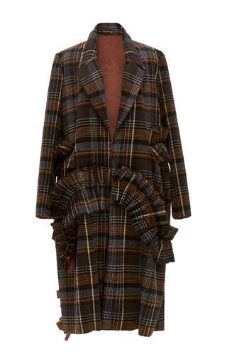 Medium kika vargas plaid ruffle applique oversize long coat