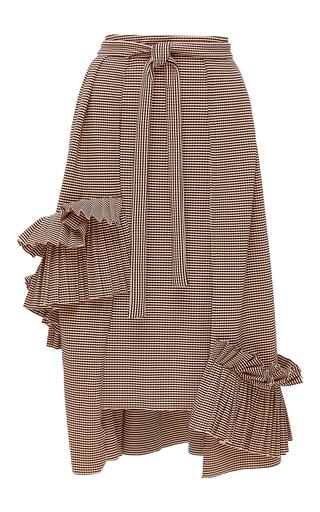 Medium kika vargas stripe pleated ruffle applique a line skirt