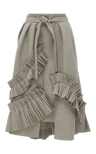Medium kika vargas light grey ruffle embellished a line wrap skirt