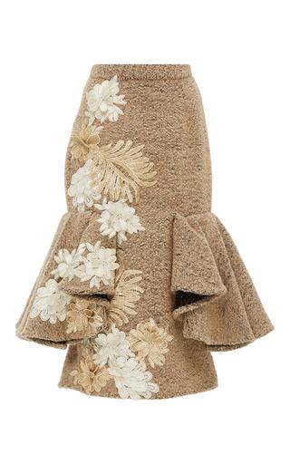 Medium kika vargas tan flower applique fluted skirt