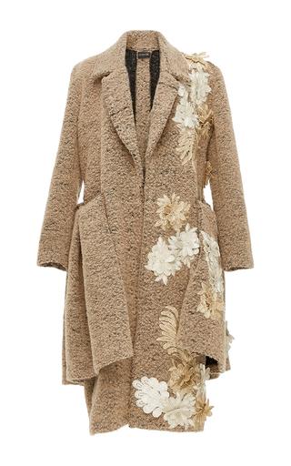 Medium kika vargas tan flower applique flounced coat