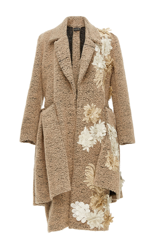 Medium kika vargas tan flower applique flounced coat