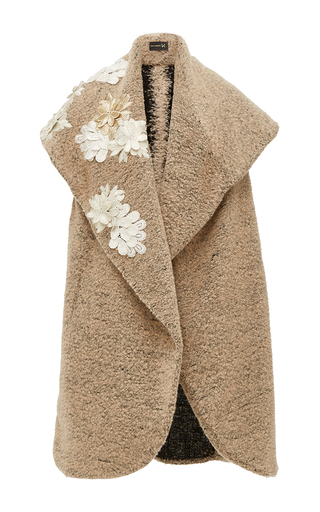 Medium kika vargas tan flower applique wide shawl collar coat
