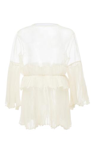 Medium kika vargas off white pleated bell sleeve blouse