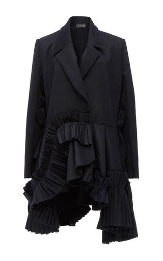 Medium kika vargas navy wool blend ruffle trim blazer