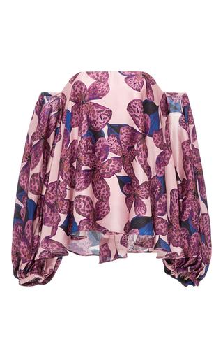 Medium kika vargas floral silk satin off the shoulder blouse