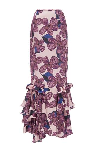 Medium kika vargas floral silk satin ruffled long skirt