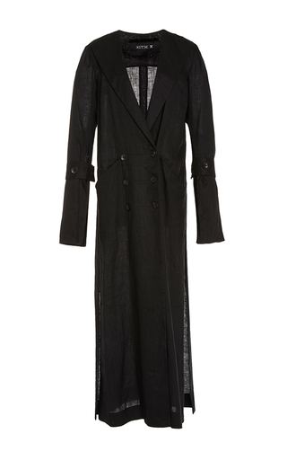 Medium kitx black strips trench with horn buttons