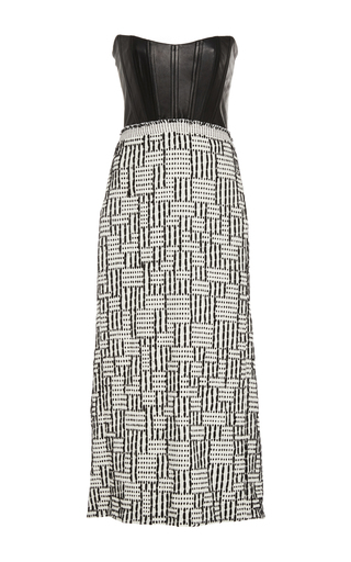 Medium kitx black leather corset tweed dress