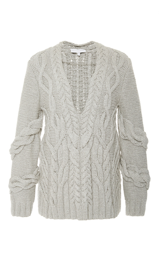 Medium nellie partow dark grey cut out cable knit sweater