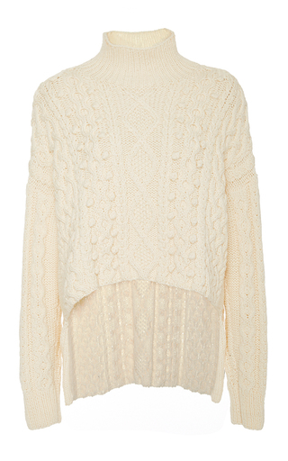 Medium marisa witkin ivory ivory open sleeve cableknit sweater