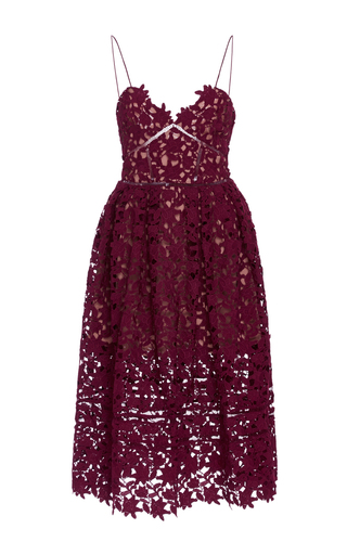 Medium self portrait burgundy azalea sweetheart midi dress
