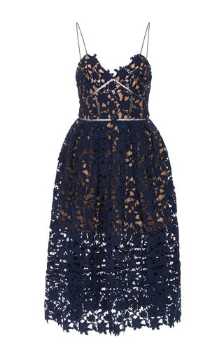 Medium self portrait navy azalea sweetheart midi dress 2