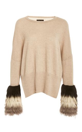 Medium izaak azanei tan tri color fur cuff pullover
