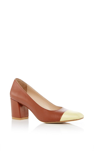 Medium maryam nassir zadeh brown maryam pump with capped toe