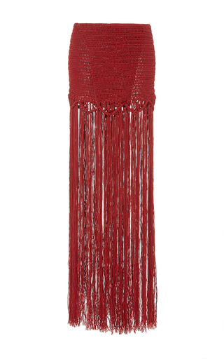 Medium jaline red daniela fringed skirt 3