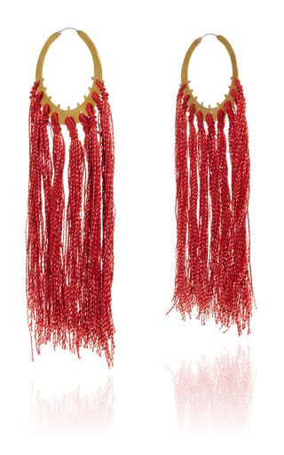 Medium jaline red elizabeth circle long fringe earring 3