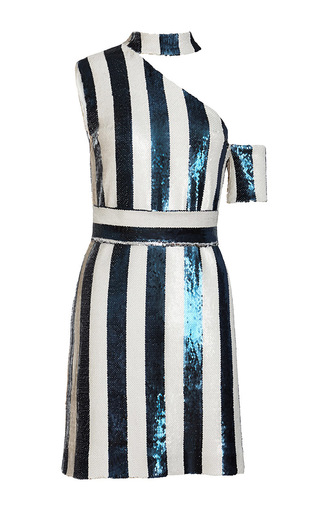 Medium kalmanovich stripe asymmetric sequin striped dress