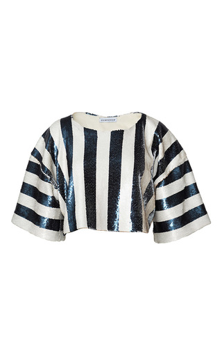 Medium kalmanovich ivory striped sequin tee