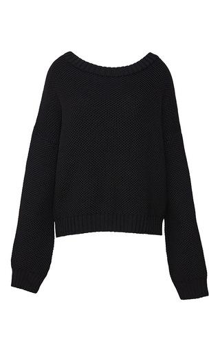 Medium kalmanovich black fleece wool pullover