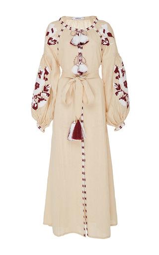 Medium march11 tan beige flower pixel maxi dress