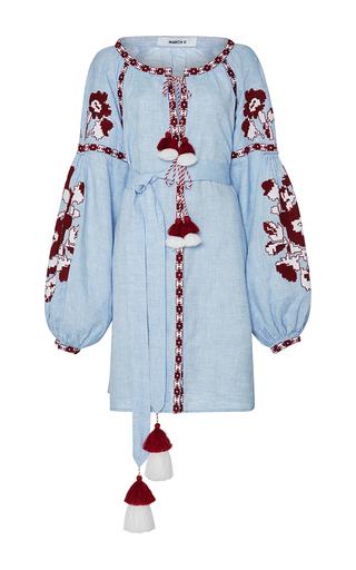 Medium march11 light blue flower pixel mini dress