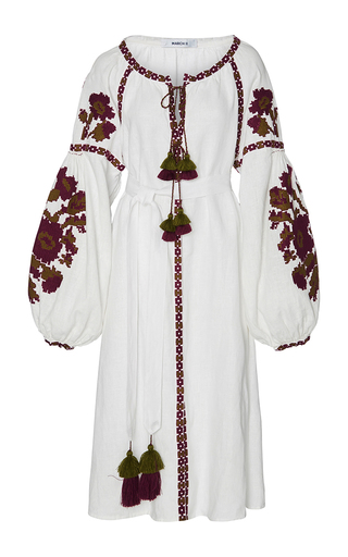 Medium march11 white flower pixel midi dress