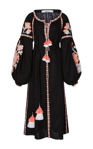 Medium march11 black flower pixel maxi dress
