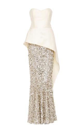 Medium elizabeth kennedy ivory strapless peplum gown with paillette skirt