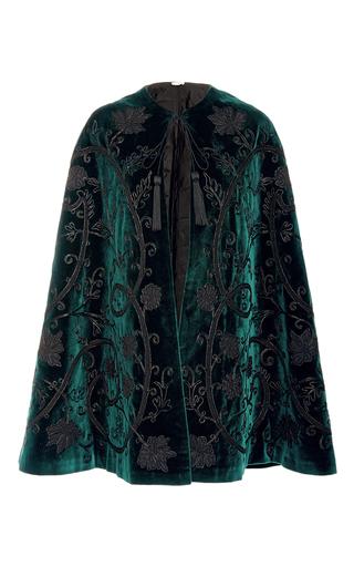 Medium talitha dark green velvet applique cape