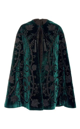 Medium talitha dark green velvet applique cape