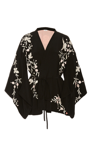 Medium talitha black rose embroidered kimono
