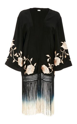 Medium talitha black fringed rose kimono