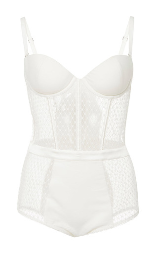 Medium fleur du mal white french net lace bodysuit