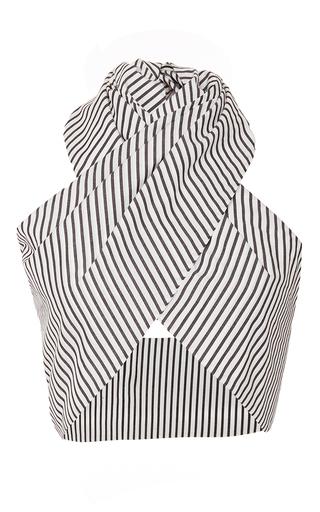 Medium tome stripe cotton wrap top