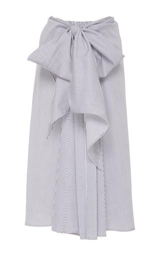 Medium tome stripe satin stripe drape front skirt