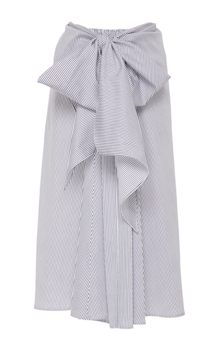 Medium tome stripe satin stripe drape front skirt