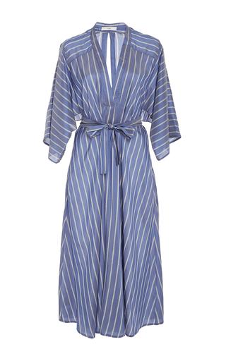 Medium tome blue v neck silk stripe shirt dress