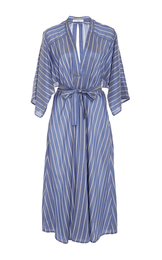 Medium tome blue v neck silk stripe shirt dress