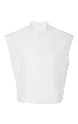 Medium tome white sleeveless bib front shirt