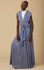 Long Draped Silk Stripe Dress by TOME Now Available on Moda Operandi