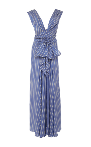 Medium tome blue long draped silk stripe dress