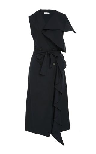 Medium tome navy ruffle sleeveless double breasted vest